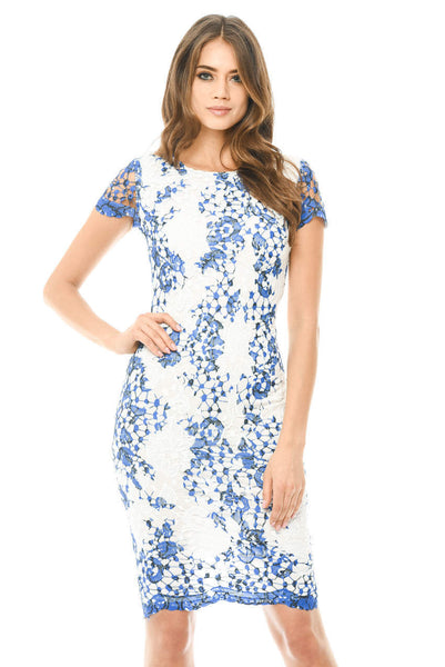 Lace Printed Midi Dress