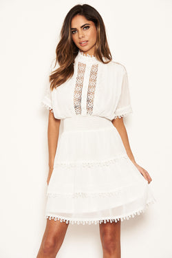 Cream Crochet Detail Tiered Dress