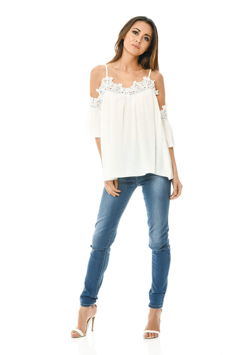 Cream Crochet Trim Cold Shoulder Top