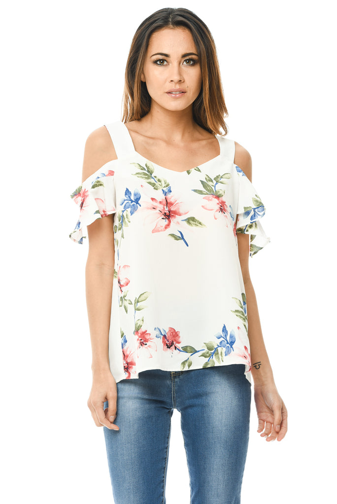 Cream Floral Thick Strap Top
