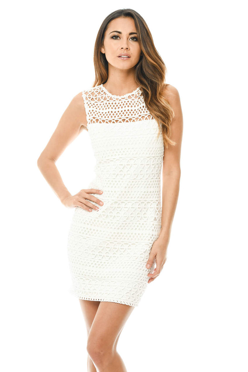 Cream Sleeveless Crochet Bodycon Mini Dress