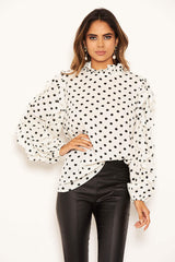 Cream Polka Dot Frill Sleeve Top