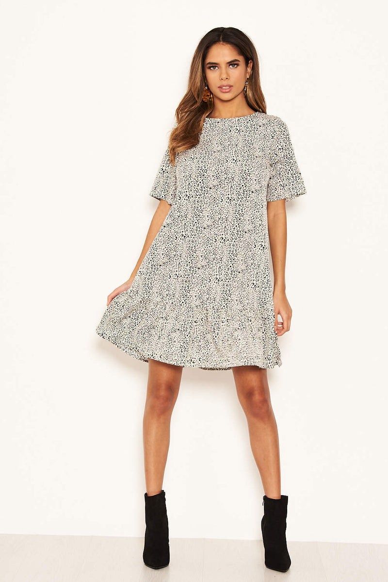 Cream Printed Frill Hem T-Shirt Dress
