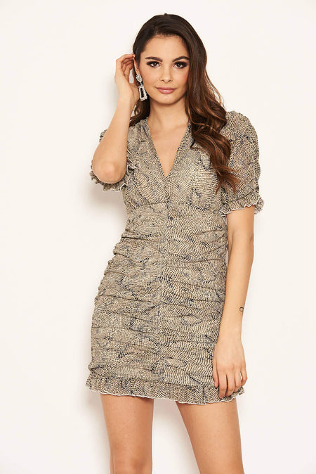 Pewter Metallic Puff Sleeve Bodycon Dress