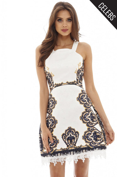 Cream Baroque Printed Dress