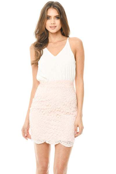 Cream 2 in 1 Crochet Skirt Mini Dress