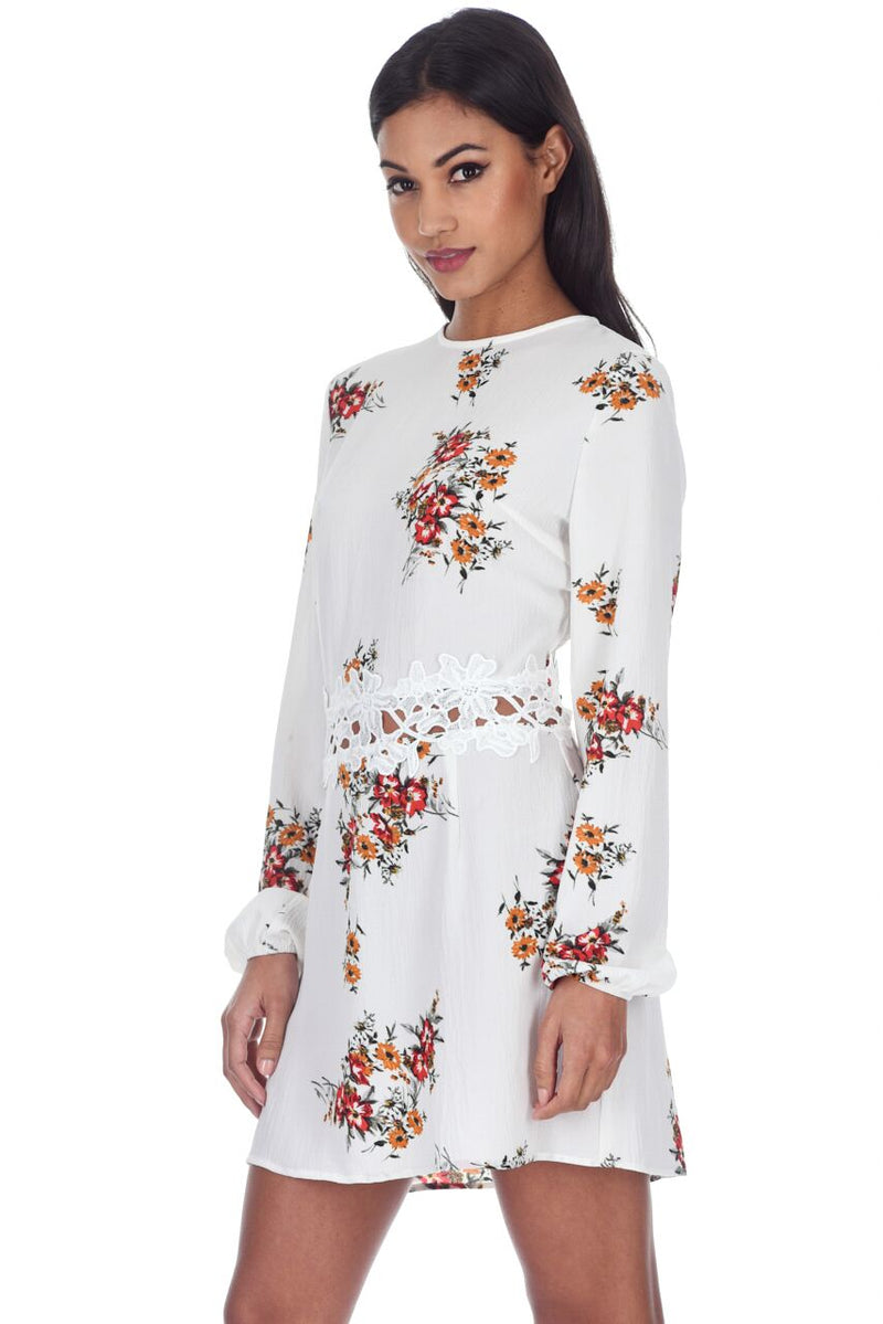 Cream Floral Long Sleeves With Crochet Detailing Waistband Dress
