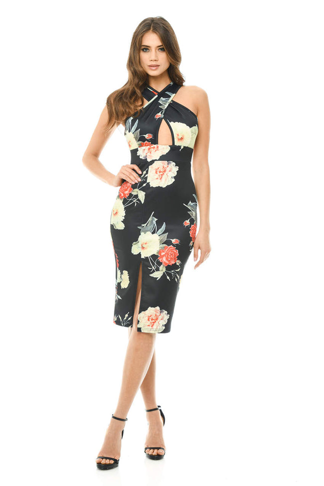 Floral Cross Front Midi Dress