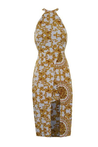 White Halter Neck With Gold Pattern Midi Dress