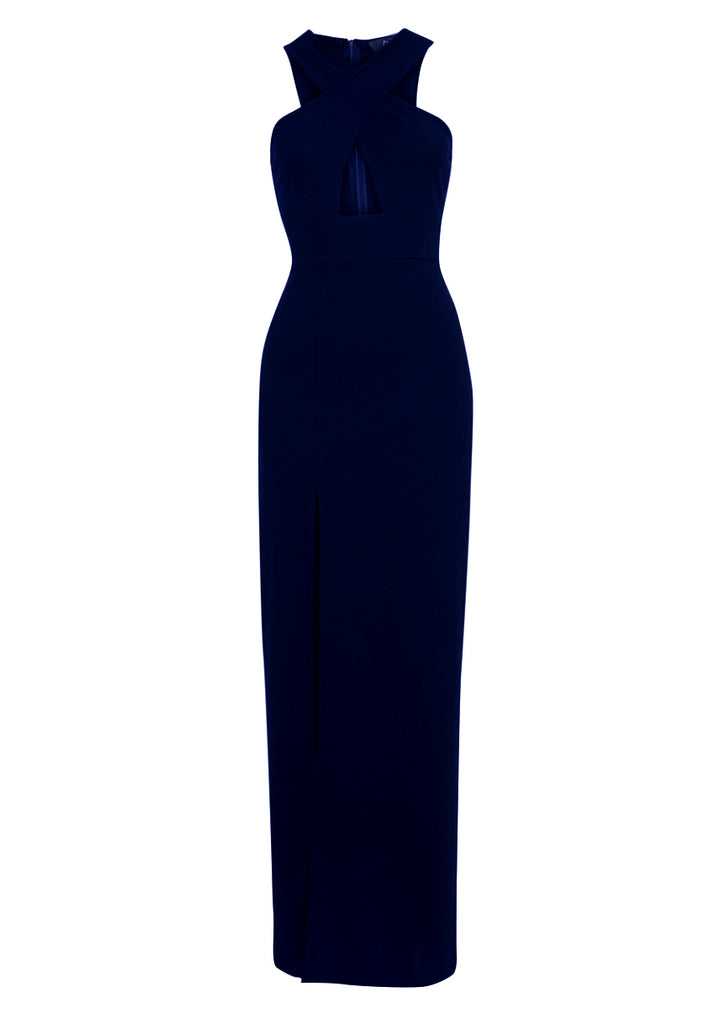 Navy Maxi Dress With Thigh High Split