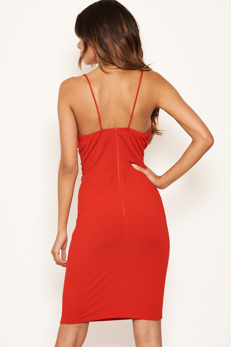 Red Knot Front Bodycon Dress