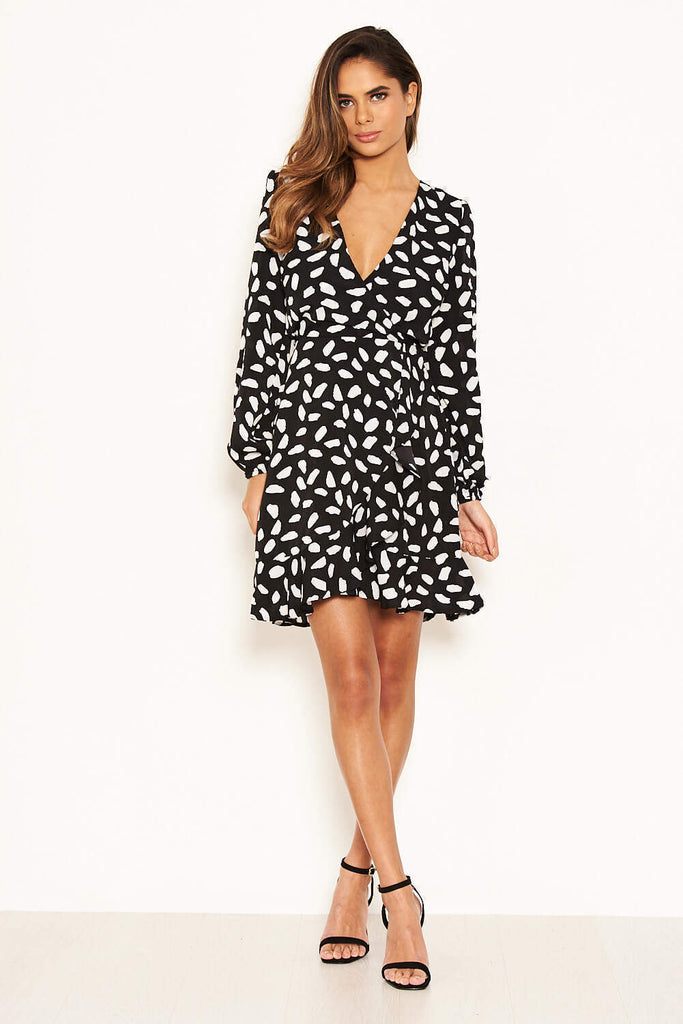 Black Printed Long Sleeved Wrap Dress