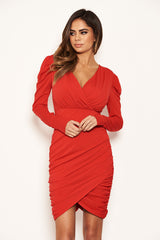 Red Long Puff Sleeved Ruched Wrap Dress