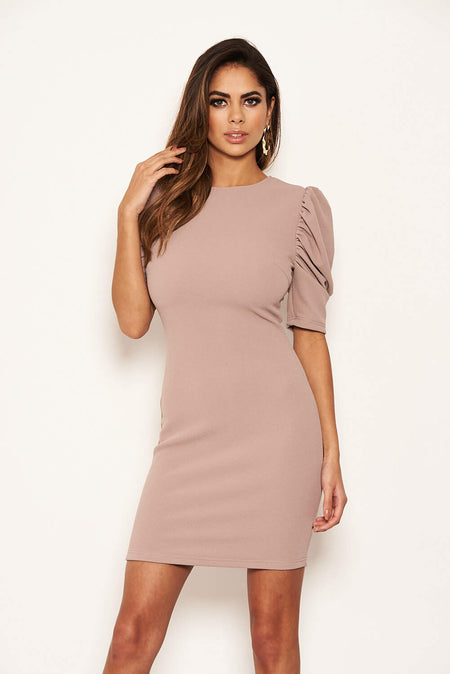 Champagne Long Sleeved Ruched Detail Dress