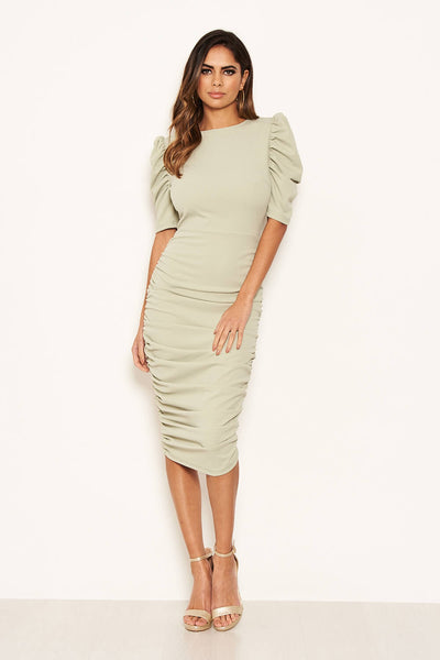 Sage Ruched Short Puff Sleeve Midi Dress