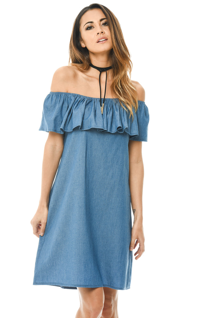 Blue Denim Dress Off Shoulder Frill Feature