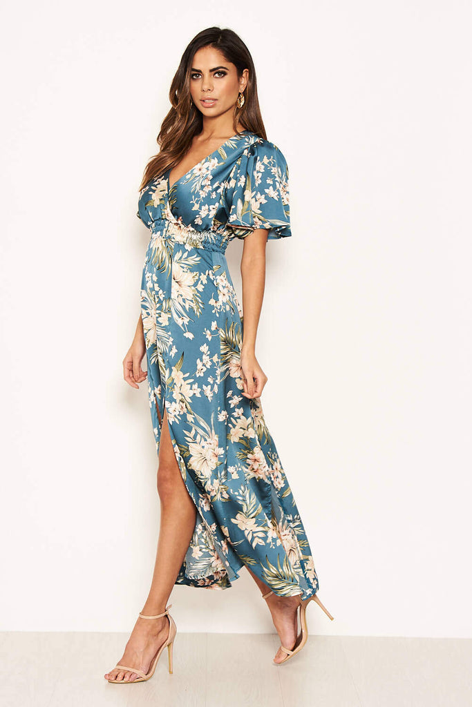 Duck Egg Floral Split Maxi Dress