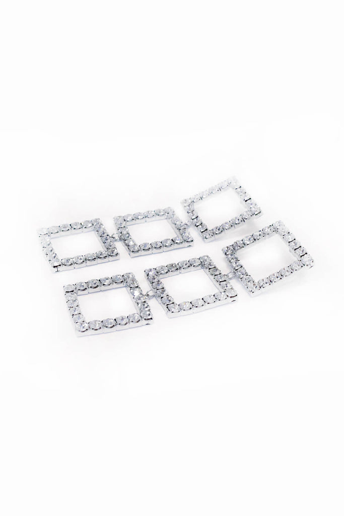 Silver Square Diamante Long Earrings