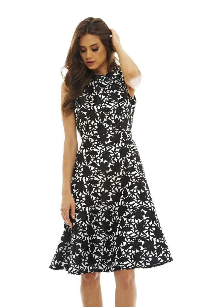 Black Midi Skater Dress with Embroidered Detail