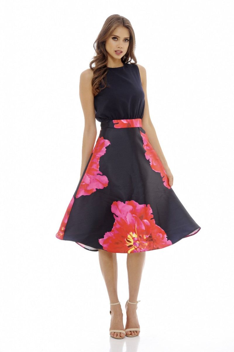 Navy 2 in 1 Floral Midi   Dress