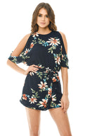 Cutout Batwing Floral Playsuit
