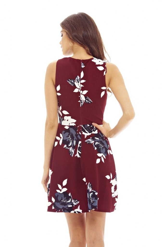 Burgundy Mini Skater Floral Dress with Sleeveless Detail
