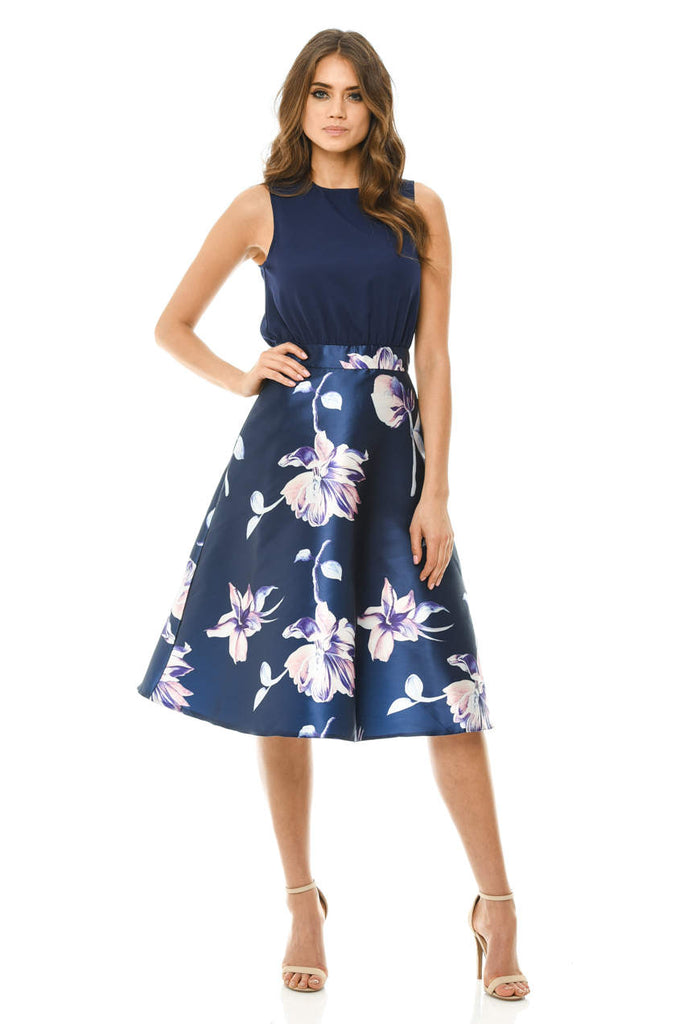 Navy Floral 2 in 1 Midi Skater Dress