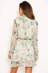 Mint Floral Button Front Long Sleeve Dress