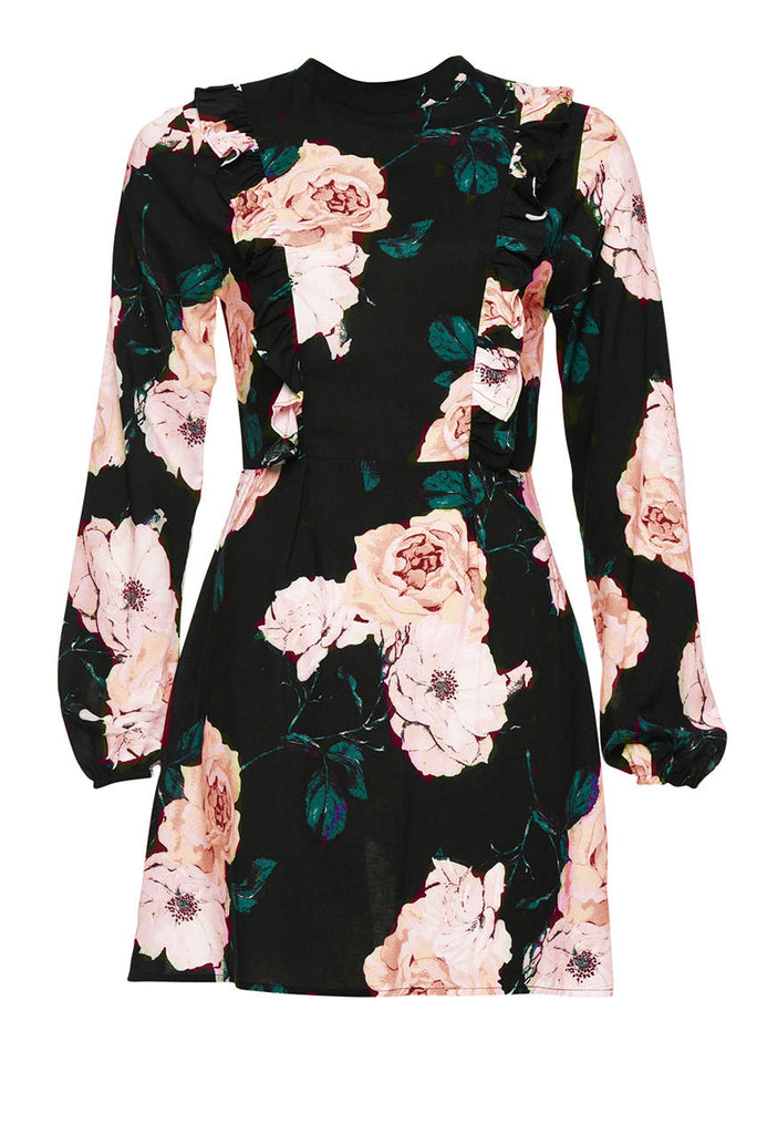 High Neck Black Floral Mini Dress