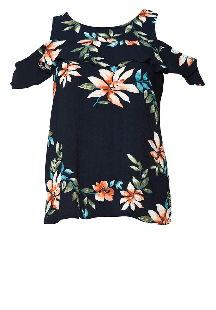 Frill Sleeve Printed Blouse