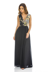 black Floral 2 in 1 V Neck Maxi Dress