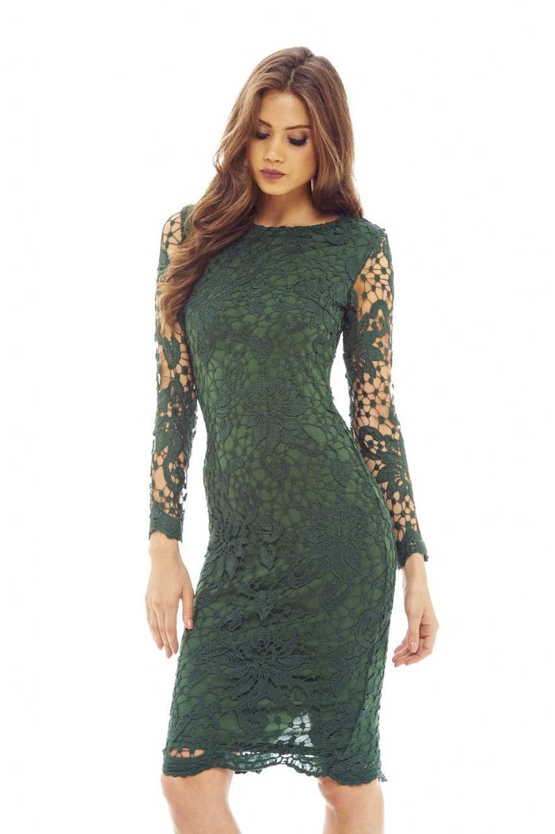 Green Crochet Dress with Long Sleeves Detail