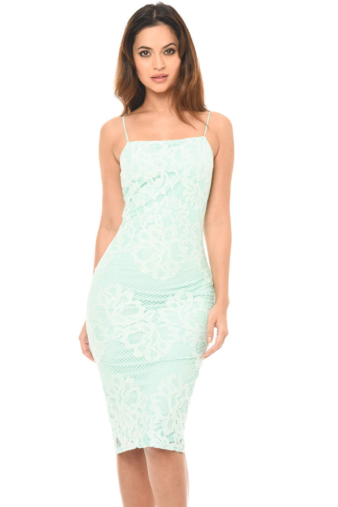 Green Strappy Lace Midi Dress