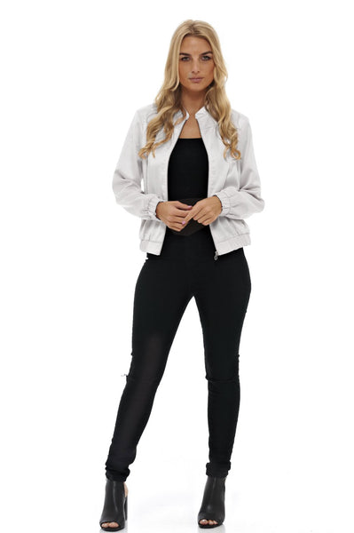 Silver Silk Feel Bomber   Jacket