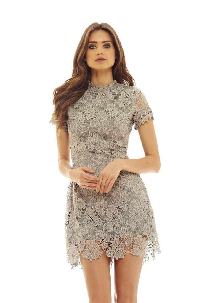 Grey High Neck Lace   Dress