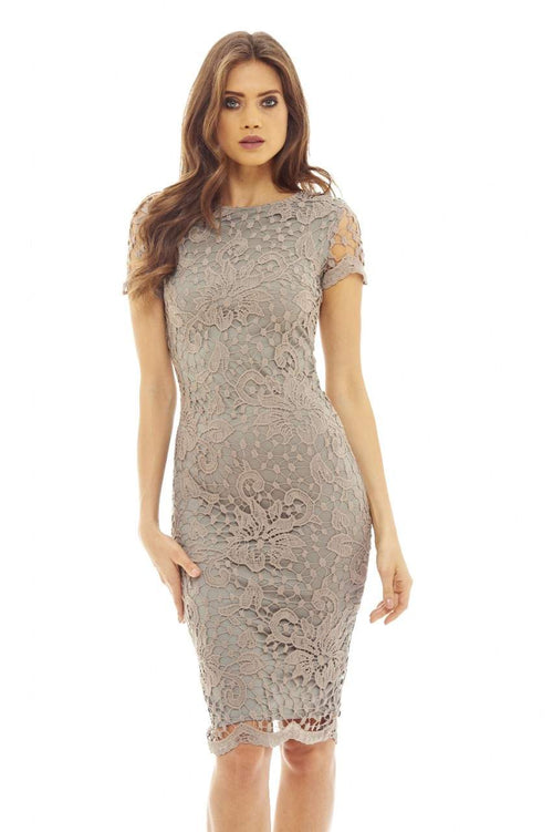 Grey Crochet Lace   Midi  Dress