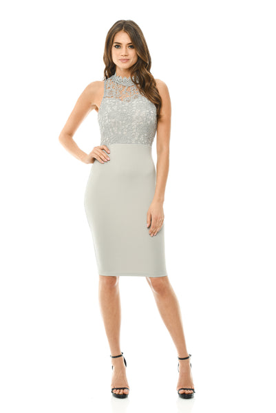 Grey Bodycon Midi Dress Crochet High Neck