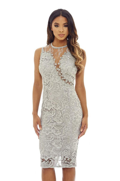 Grey Bodycon Midi Lace Dress with Mesh Sleeveless Detail