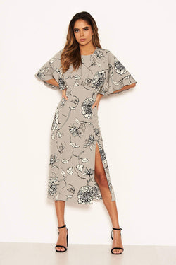 Grey Floral Gathered Split Midi Dress