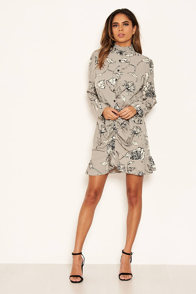 Grey Floral Ruched Shirt Dress