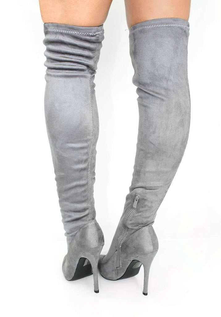 Grey Suede Thigh High Heeled Boots