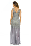 Grey Crochet Chiffon Maxi Dress