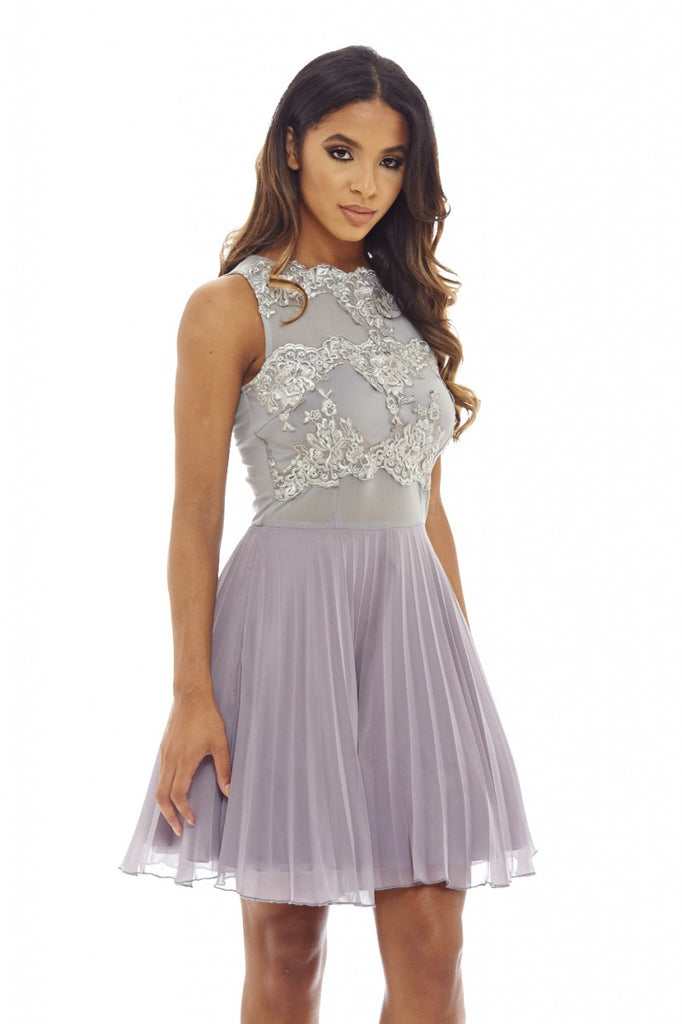 Grey Crochet Lace    Skater Dress