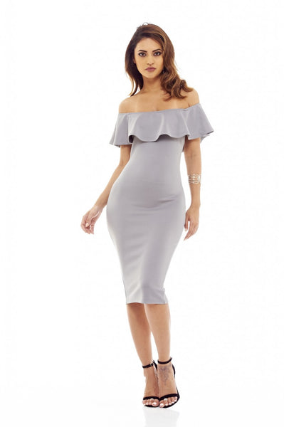 Grey Midi Dress with Off-The-Shoulder Frill Detail