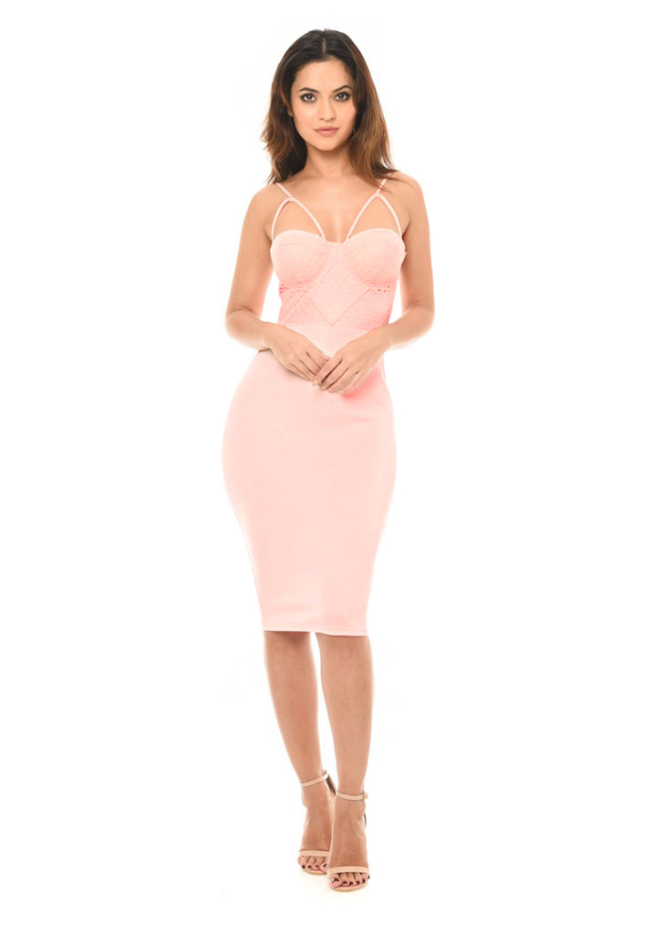 Pink Midi Dress with Strappy Detail