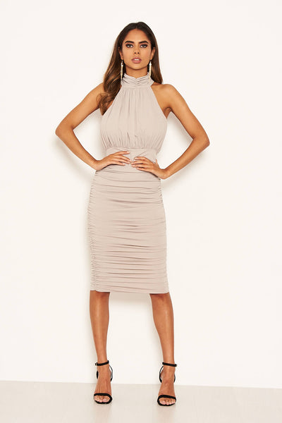 Silver High Neck Ruched Bodycon Midi Dress