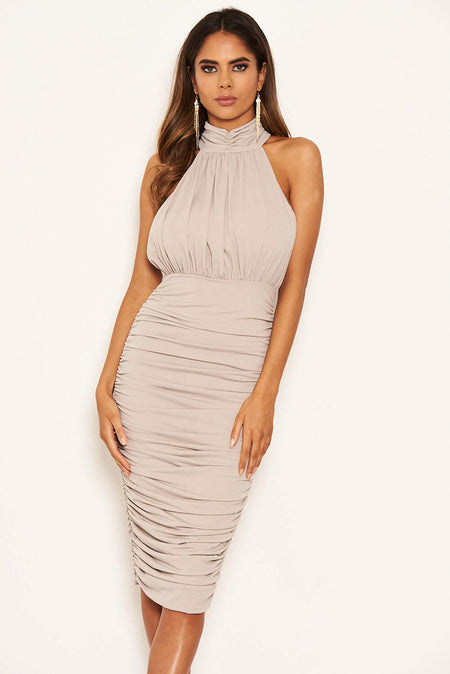 White Boat Neck Dress With Ruched Detail