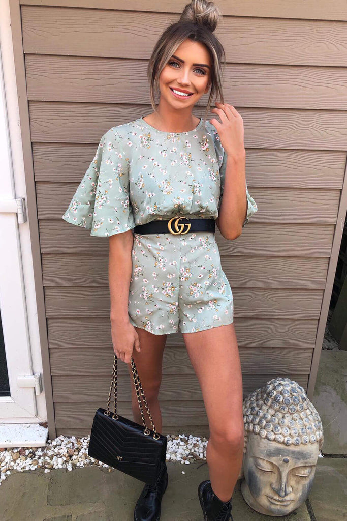 Mint Bell Sleeve Floral Playsuit