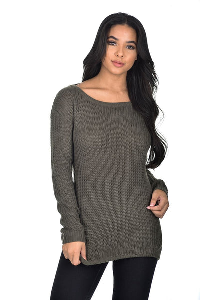 Khaki Cable Knit Ladder Back Jumper