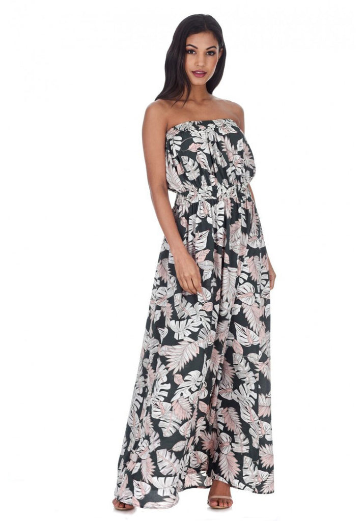 Khaki Leaf Printed Maxi Dress